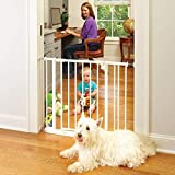 North States 38.5' Easy-Close Baby Gate: The multi-directional swing gate with triple locking system - Ideal for doorways or between rooms. Pressure mount. Fits 28'-38.5' wide (29' tall, White)