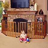 North States 3-in-1 Wood Superyard - 151' Long Play Yard: Create a Play Yard or an Extra-Wide gate. Hardware Mount or freestanding. 6 Panels, 10 sq. ft. Enclosure (30' Tall, Stained Wood)