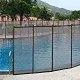 Giantex 4'x48' In-Ground Swimming Pool Fence Child Barrier Pool Safety Mesh Fence Section, Black 4 Set