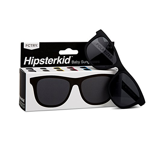 HIPSTERKID Polarized Baby Sunglasses with Strap, for Infant and Babies, ages 0-2, Wayfarer in Classic Black