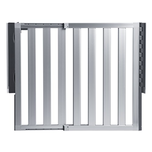 Munchkin Loft Aluminum Hardware Mount Baby Gate for Stairs, Hallways and Doors, Extends 26.5'- 40' Wide, Silver, Model MK0012