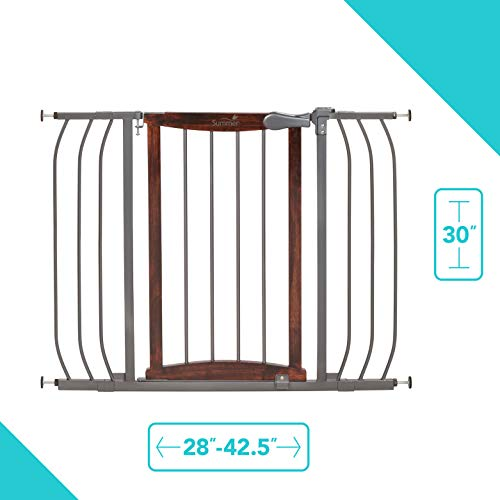 "Summer Anywhere Decorative Walk-Thru Baby Gate, Walnut Wood and a Metal Charcoal Accent Finish – 30"" Tall, Fits Openings up to 28"" to 42.5"" Wide, Baby and Pet Gate for Doorways and Stairways"