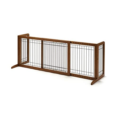 Richell Wood Freestanding Pet Gate, Large, Autumn Matte Finish