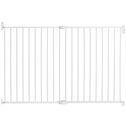 Munchkin Extending XL Tall and Wide Hardware Baby Gate, Extends 33' - 56' Wide, White, Model MK0004