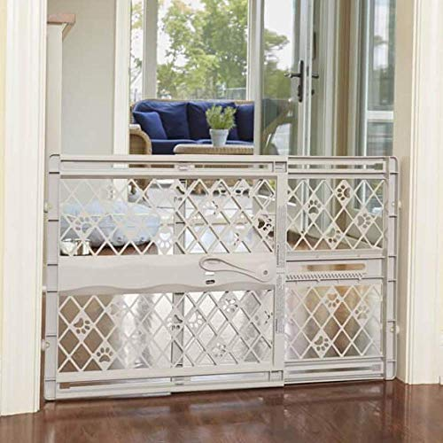 North States MyPet Paws 40' Portable Pet Gate: Expands & locks In place with no tools. Pressure Mount. Fits 26'- 42' wide (23' tall, Light Gray) (8871)