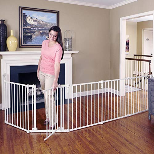 Toddleroo by North States 3 in 1 Metal Superyard: 144' long extra wide baby gate, barrier or play yard. Hardware or freestanding. 6 panels, 10 sq.ft. enclosure (30' tall, Beige)