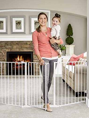 Regalo 76 Inch Super Wide Configurable Baby Gate, 3-Panel, Includes Wall Mounts and Hardware