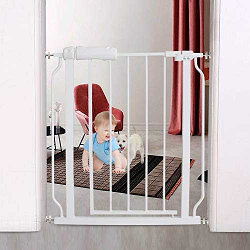 Fairy Baby Narrow Baby Gate for Kids or Pets Auto Close Walk Through Safety Gates for Stairs Doorways, 24.21 Inch to 27.55 Inch Wide, White