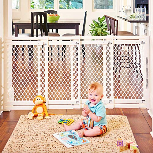 Toddleroo by North States 62' wide Extra Wide Baby Gate: Smoothly opens and closes in extra wide spaces. Hardware Mount. Fits 22' - 62' wide (31' Tall, Ivory)