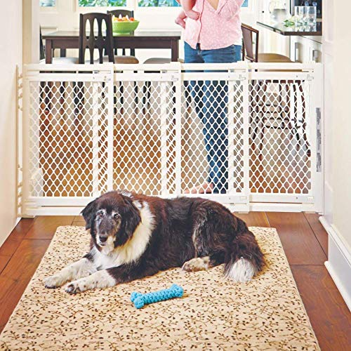 North States MyPet 62' wide Extra Wide Pet Gate: Smoothly opens and closes in extra wide spaces. Hardware Mount. Fits 22' - 62' wide (31' Tall, Ivory)